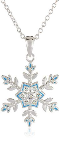 "Amazon.com: Disney Girls' Frozen Silver-Plated Crystal Snowflake Pendant Necklace, 18"": Jewelry"