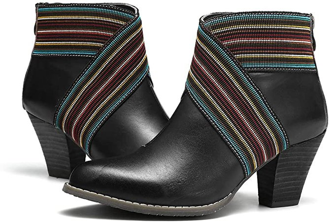 Amazon.com | gracosy Women's Ankle Booties, Leather Block Heel Boots Side Zipper Combat Ankle Handmade Short Boots | Ankle & Bootie