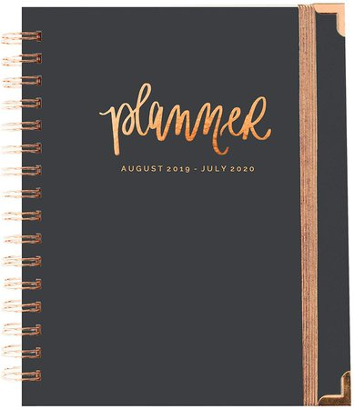 Amazon.com : Sweet Water Decor Grey and Rose Gold Planner August 2019 - July 2020 | Gold Day Planner Tabbed Journal Weekly Teacher Calendar Office Decor Academic Planner Agenda : Office Products