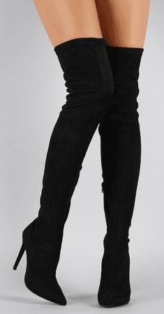 thigh high heeled black boots
