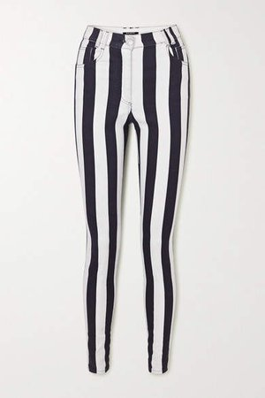 Striped High-rise Skinny Jeans - White