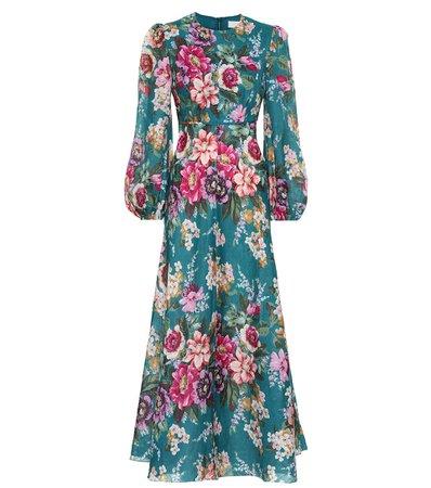 Allia Floral Linen Midi Dress - Zimmermann | Mytheresa