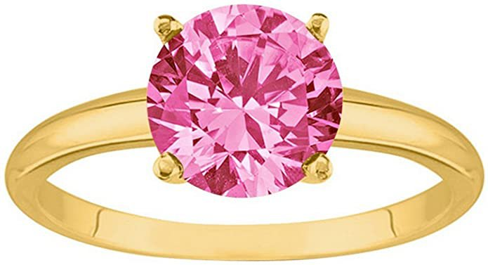 2/3 Carat 14K Yellow Gold Round Pink Sapphire 4 Prong Solitaire Diamond Engagement Ring (AAA Quality) | Amazon.com