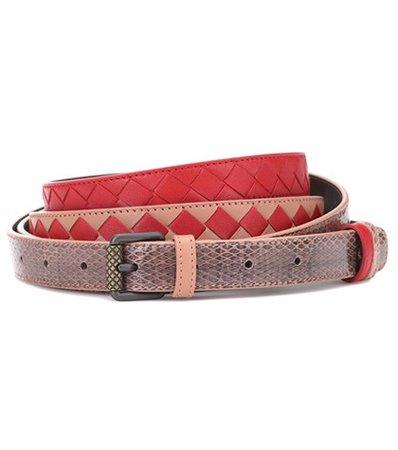 Intrecciato snakeskin-trimmed belt
