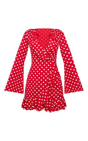 Red Polka Dot Frilled Flare Sleeve Wrap Dress   PrettyLittleThing USA