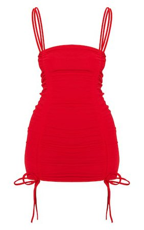 Red Ruched Front Strappy Bodycon Dress | PrettyLittleThing
