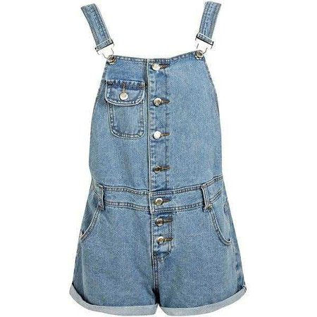 Simple Denim Overalls - @byepolyvore PNG Collection