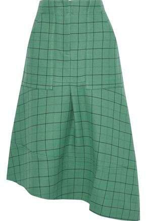 Asymmetric Checked Twill Midi Skirt
