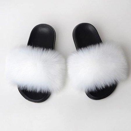 Vova | New Fluffy Faux Fur Slides Women Fur Slippers Furry Raccoon Sandals Fake Fox Fur Flip Flops Home Fuzzy Woman Casual Plush Shoes