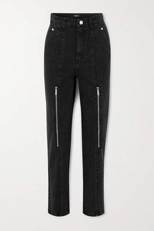 Zip-embellished High-rise Tapered Jeans - Black