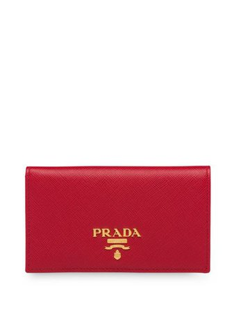 Shop red Prada saffiano bi-fold wallet with Express Delivery - Farfetch