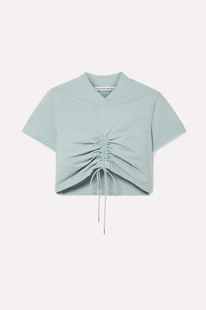 Cropped Ruched Cotton-jersey T-shirt - Sky blue