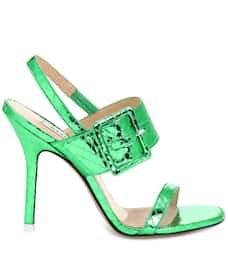 Embossed Metallic Leather Sandals | Attico - mytheresa.com
