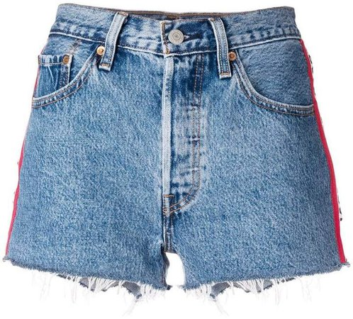 side bands denim shorts