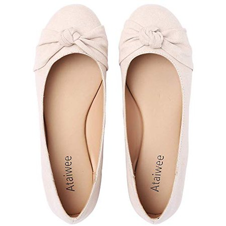 Amazon.com   Ataiwee Women's Ballet Flats - Casual Classic Round Toe Suede Upper with Bow Slip-on Walking Shoes.   Flats