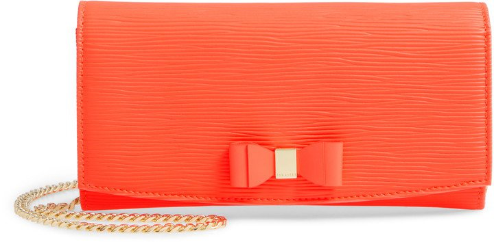 Zea Bow Matinee Leather Crossbody Clutch