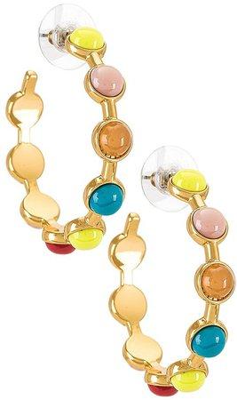 Cabochon Hoop Earrings.