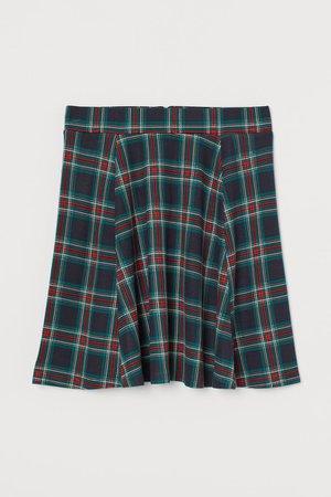 Skater Skirt - Dark blue/plaid - Ladies | H&M US