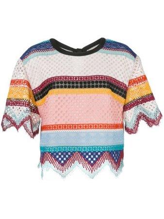 Carolina Herrera Crochet Striped Skirt   Farfetch.com
