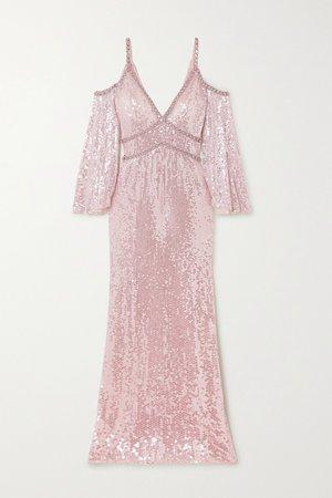 Pastel pink Lea cold-shoulder crystal-embellished sequined tulle gown | Jenny Packham | NET-A-PORTER