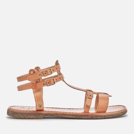 Leather Flat Sandals - Natural