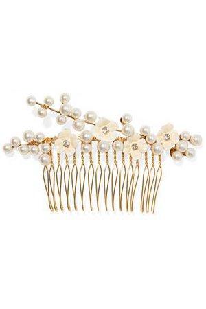 Jennifer Behr   Amelie gold-plated, crystal, Swarovski pearl and enamel hair slide   NET-A-PORTER.COM