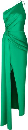 Rasario Draped Satin One-Shoulder Gown