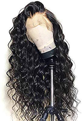 "Amazon.com : Andria Hair Water Wave Lace Front Wig Synthetic Wigs Heat Resistant Hair Synthetic Hair Wigs with Baby Hair Bleached Knots Pre Plucked Wigs for Black Women (Black Hair 22"") : Beauty"