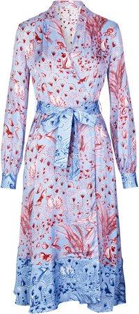 Reflection Belted Floral-Print Satin Midi Dress
