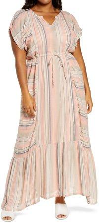 Stripe Crepe Maxi Dress