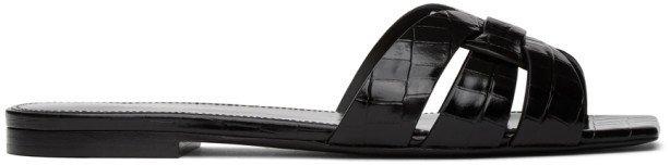 Black Croc Tribute Flat Sandals