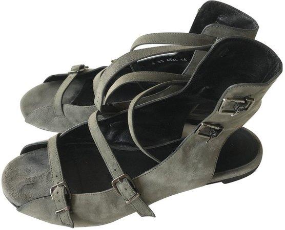 Khaki Suede Sandals