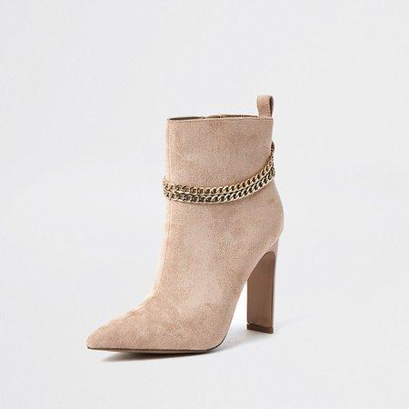 Beige chain high heel boots | River Island