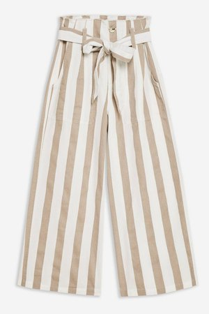 Belted Stripe Crop Wide Trousers | Topshop Sand