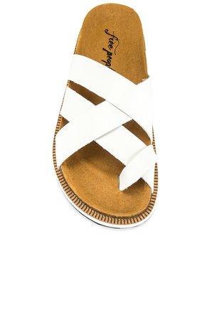 Free People Ventura Footbed Sandal in White   REVOLVE