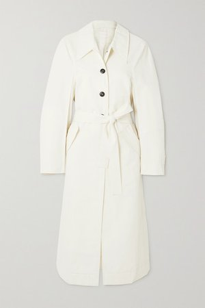 Belted Cotton-blend Gabardine Trench Coat - Off-white
