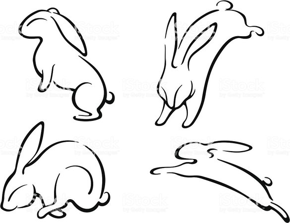 jumping bunny outline - Google Search