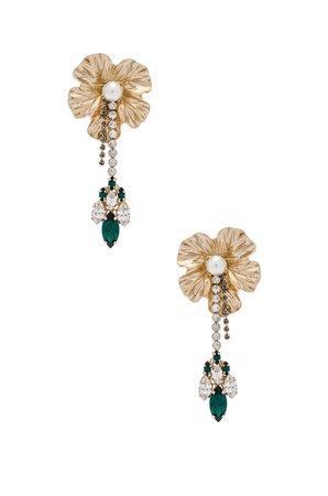 Dangly Flower With Pendant Earrings