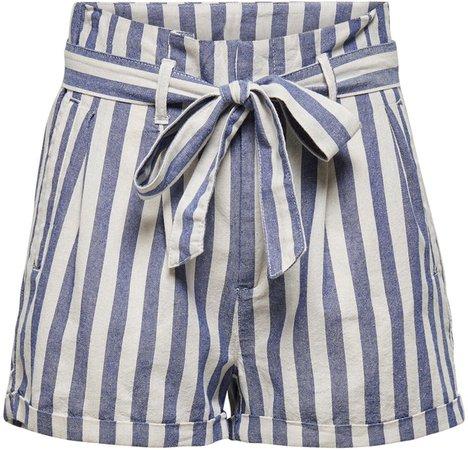 Stripe Paperbag Waist Shorts