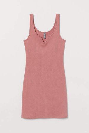 Ribbed Jersey Dress - Pink
