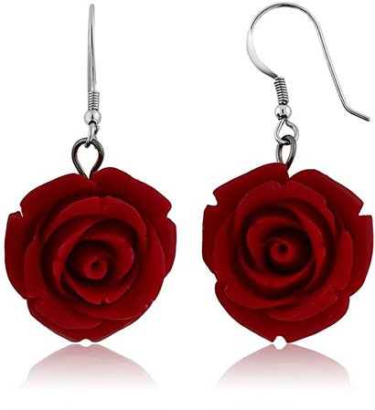 Amazon.com: Gem Stone King 20MM 925 Sterling Silver Red Simulated Coral Carved Rose Flower Earrings: Dangle Earrings: Jewelry
