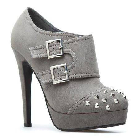 grey platform booties