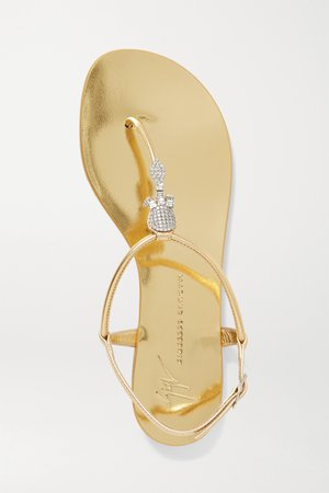 Gold Crystal-embellished metallic leather sandals | Giuseppe Zanotti | NET-A-PORTER