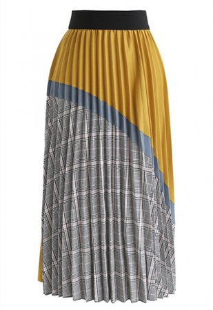 Plaid Splicing Pleated Midi Skirt in Mustard - NEW ARRIVALS - Retro, Indie and Unique Fashion