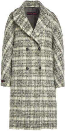 Martin Grant Plaid Mohair-Wool Cocoon Coat