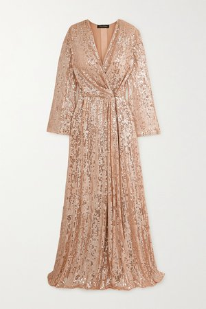Blush Scarlett sequined chiffon wrap gown | Jenny Packham | NET-A-PORTER