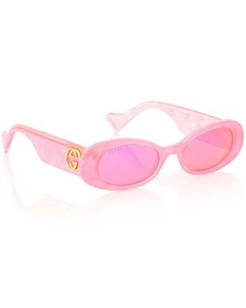 Gucci Oval Sunglasses in Pink - Lyst