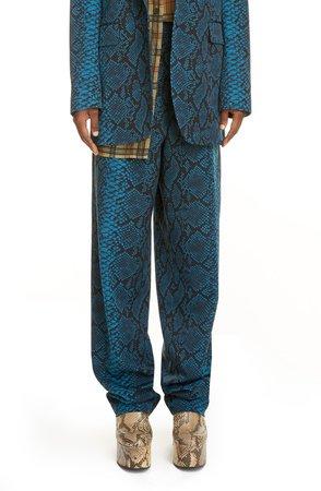 Snake Print Wool Straight Leg Trousers