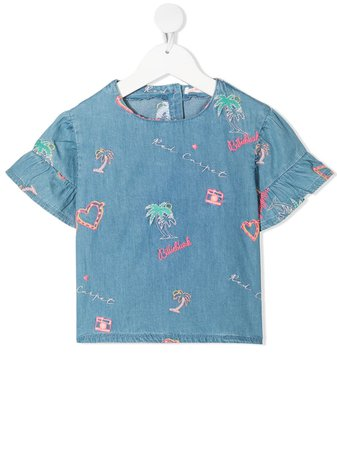 Shop blue Billieblush embroidered-ruffle blouse with Express Delivery - Farfetch