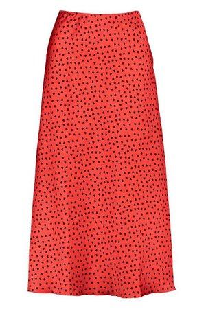 Heart Polka Dot Slip Skirt | Boohoo UK